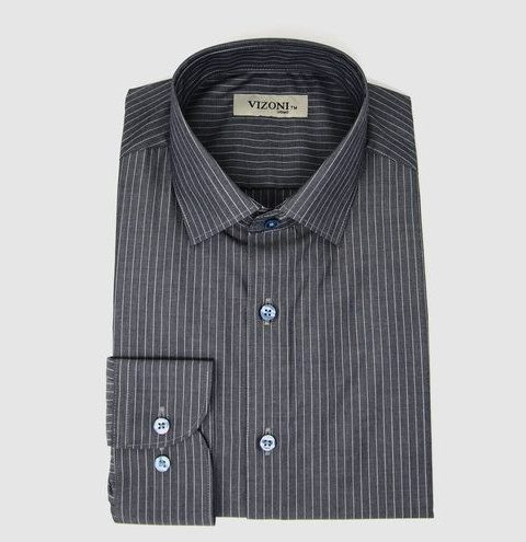 grey striped dress shirt- 5ieme avenue
