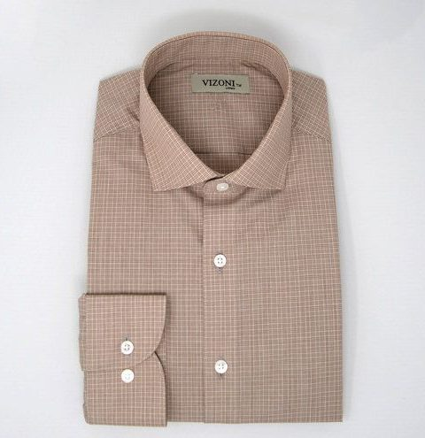 beige checkered slim fit shirt 5ieme avenue