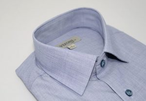 blue micro pattern slim fit shirt 5ieme avenue