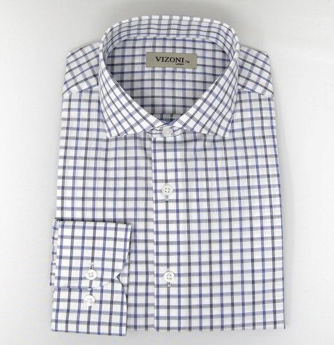 Blue & Black Check Slim Fit Shirt 5ieme Avenue