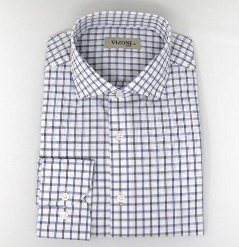 Blue & Black Check Slim Fit Shirt 5ieme Avenue