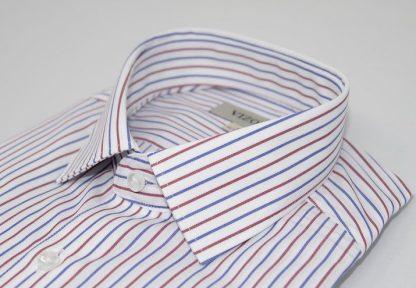 red & Blue striped slim fit shirt