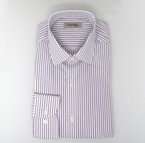 red & Blue striped slim fit shirt