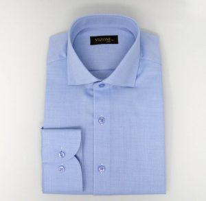 blue high twist slim shirt 5ieme avenue