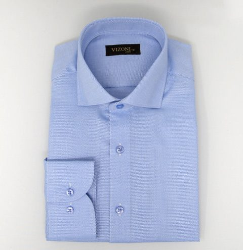 blue high twist slim shirt 5ieme avenue