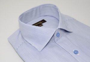 blue microstripe slim shirt 5ieme avenue