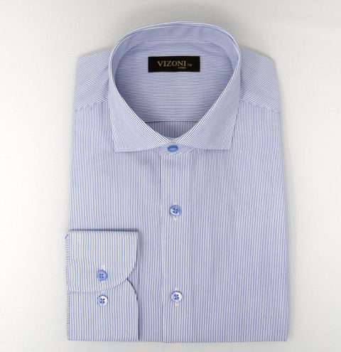 blue microstripe slim shirt 5ieme avenue
