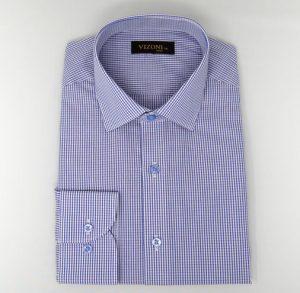 Purple Gingham Slim Shirt 5ieme Avenue