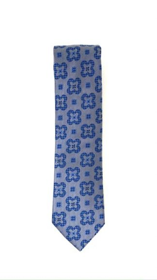 Grey and blue floral tie
