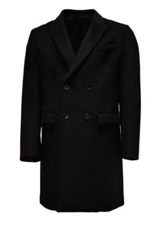 black double breast wool overcoat