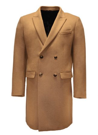 beige double breast wool overcoat