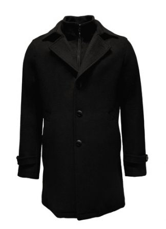 black loden wool overcoat
