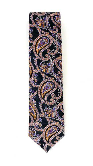 black and orange paisley patterned tie