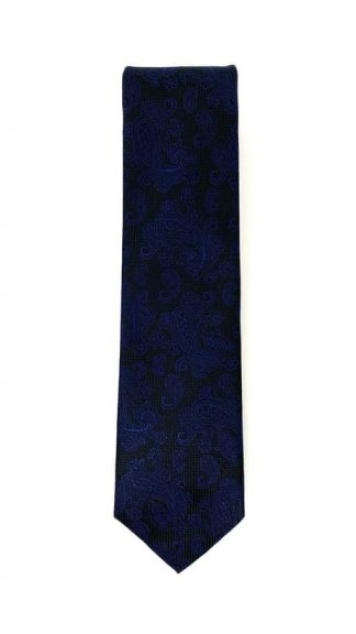 black and navy paisley patterned tie