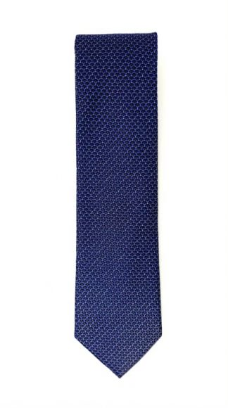 Brown and blue geometric check patterned tie