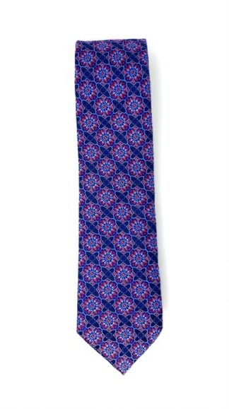 blue and red floral patterned tie