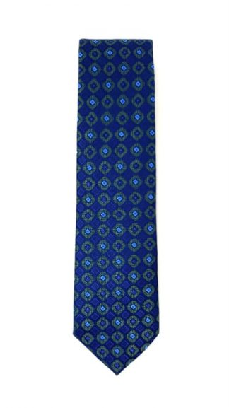 blue and green geometric patterned tie