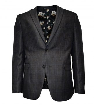 dark grey (blue) prince of wales checkered suit